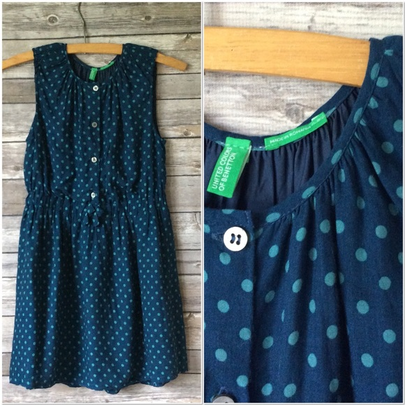 United Colors Of Benetton Other - Benetton Girls Dark Teal Polka Dot Dress Sz M
